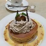 珈琲館 - モンブランホットケーキ、珈琲館ブレンド