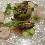 75232587 - 前菜1 鯖のマリネと焼き茄子のタルタル