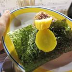 焼鳥 弁慶 - 大きな焼きおにぎり。