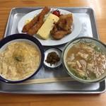 きらく食堂 - フライ盛り合わせ 玉子丼 豚汁  ¥800也                            ちょいと 頼みすぎました   (笑)