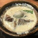 あなぐま亭 - 料理写真:自家製ベーコンとカキアスパラ豆乳ソテーの小鍋