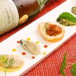 牡蠣の前菜5種食べ比べ