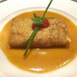 75250503 - 〈温製オードブル〉ズワイ蟹と茸のクレープ包み 蟹のクリームソース