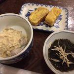 楓 - 御通し3品(里芋煮、卵焼き、もずく酢)