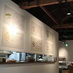 カフェ豆茶 - キッチンカウンターの壁に、提供されるお豆さんの説明が(2017.10.24)