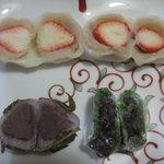 京菓子司 おくやま菓舗 - 2011.4 いちご大福2個・桜餅・草餅cut図!