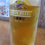 ひだりうま でん助 - タイムサービスから生ビールは一番搾り通常490円が1杯だけ300円