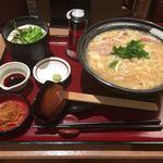 杵屋 - 王さんの卵とじうどんと御飯定食 980円