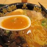 那の福 - これをスープとよく混ぜるとトンコツベースの美味しい辛子味噌ラーメンの出来上がりです。