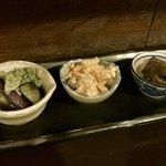 75314454 - 本日のお惣菜3種(茄子の中華びたし、おからさらだ、雷こんにゃく)