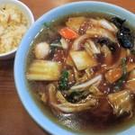 名菜酒家・珍来 - 料理写真:Aセット(広東麺+ミニ鮭チャーハン)