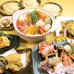 """魚七鮮魚店 - """"激盛り""""産直大満足コース【飲み放題60種類付】3名様~"""
