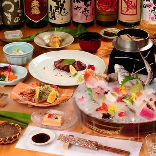 季節のコースは、広島の食材を3時間飲み放題でご堪能♪