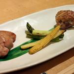 75329786 - 籠盛りコース 丹波鶏もも肉の炙り焼き