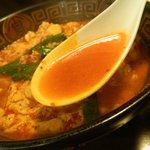 まないた家 - 辛麺(中華麺の8辛)のスープ