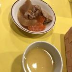 75346339 - 鶏肉と大根の煮物とコーンスープ