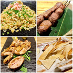 ざくろ - カニチャーハン、牛タン串焼き、能登鶏の岩塩焼き、エイヒレ