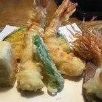 九つ井 - 天ざる蕎麦車海老の天ぷら