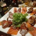 お肉と神戸野菜とワインとチーズ TOROROSSO - 明石蛸とノルウェーサーモンのカルパッチョ