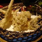 寿庵忠左衛門 - アワビ茸とマコモ茸の天ぷら