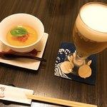 蓮菜 - 料理写真:先付&生ビール