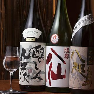 当店限定の日本酒「八咫鳥」を、上質な串焼きとともに