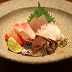 高太郎 - お造り・・・・・根蛸、秋刀魚 肝和え、まながつお、勘八、すずき、銀鮭の昆布締め