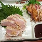 75445356 - 鶏刺2種盛り(ムネ、モモ)980円