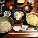 赤坂うまや - 冷汁とチキン南蛮定食 @1,200円 ご飯はお替わりできます。1杯めは冷や汁で、2杯めは卵ごはんでいただきます。