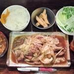 海豚 - 豚ハラミ焼肉定食600円+ミニカレーきしめん100円