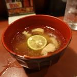 炭火焼とり 安喜 - ☆お付き出し鶏スープ(^◇^)☆