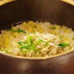 日本料理 晴山 - お食事:栗と白身混ぜご飯