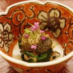 日本料理 晴山 - 先付:帆立、舞茸、ほうれん草、鶉卵、とんぶり