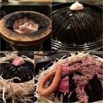 七輪 - 料理写真:七輪とジン鍋/モヤシをぐるりとしいて焼き焼き♪