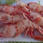 万代島鮮魚センター - ボタンエビ(税込み540円)