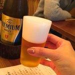 蕎麦 たじま - このビールグラス、薄くて軽くて飲みやすい( ´ ▽ ` )こだわってるなぁ〜