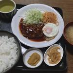 食堂 伊賀 - ハンバーグ定食 680円 171024 18:35