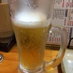 串かつ じゃんじゃん - 「生ビール 中」400円(税抜)× 3杯。ホテルでの部屋のみの途中で出張った『串かつ じゃんじゃん 梅田東店』でもあり、お酒の方は、それなりに飲み足りていたので、あまり杯数は呑まずに済んだ。