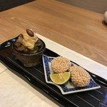 和食加藤 - 焼きナスと焼き豚の黄身辛子&海老と蓮根の玄米揚げ