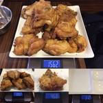 ケンタッキーフライドチキン - 「オリジナルチキン」ランチプレート 実食総重量 1,562+1,082+468-312×3 = 2,176g(骨等含む)