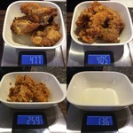 ケンタッキーフライドチキン - 「オリジナルチキン」取り皿 実食総重量 477+405-259-136 = 487g(骨等含む)「カーネルクリスピー」3個 総重量(実測値)123g。