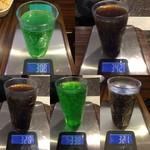 ケンタッキーフライドチキン - ドリンク 5杯 およそ 1kg くらい?1,637g - α×5〔仮に α = 100 として計算〕(肝心のコップの計量を忘れてしまった ^^;)