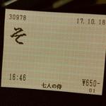 麺場 七人の侍 - 中華そばのチケット。『そ』って略しすぎでしょw