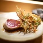 again - 鮪稚魚と野菜かき揚げ