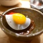 again - カレーハンバーグライス 目玉焼きトッピング 福神漬け付き