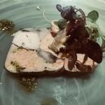 75571567 - 日本酒でマリネしたあん肝と石鯛のテリーヌ  赤貝と焼きナスのサラダ添え