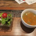 75600647 - サラダとスープ スープにはコンビーフ?美味なり