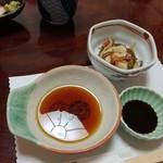割烹包丁 - 突き出しと天麩羅のツユ(2017.10)