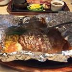 やながわ精肉店 - 包ハンバーグ200g デミグラソース ライス・日替わりスープセット 1,684円(税込み)