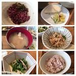 キャトルセゾン 旬 - 定食共通  ご飯 お代わり無料で4種をセルフで、お漬物・お味噌・ほうれん草の煮浸し・おから